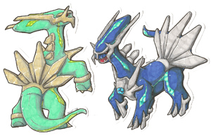 Dialga and Shiny Dialga Custom Cutouts by Keshi_kins