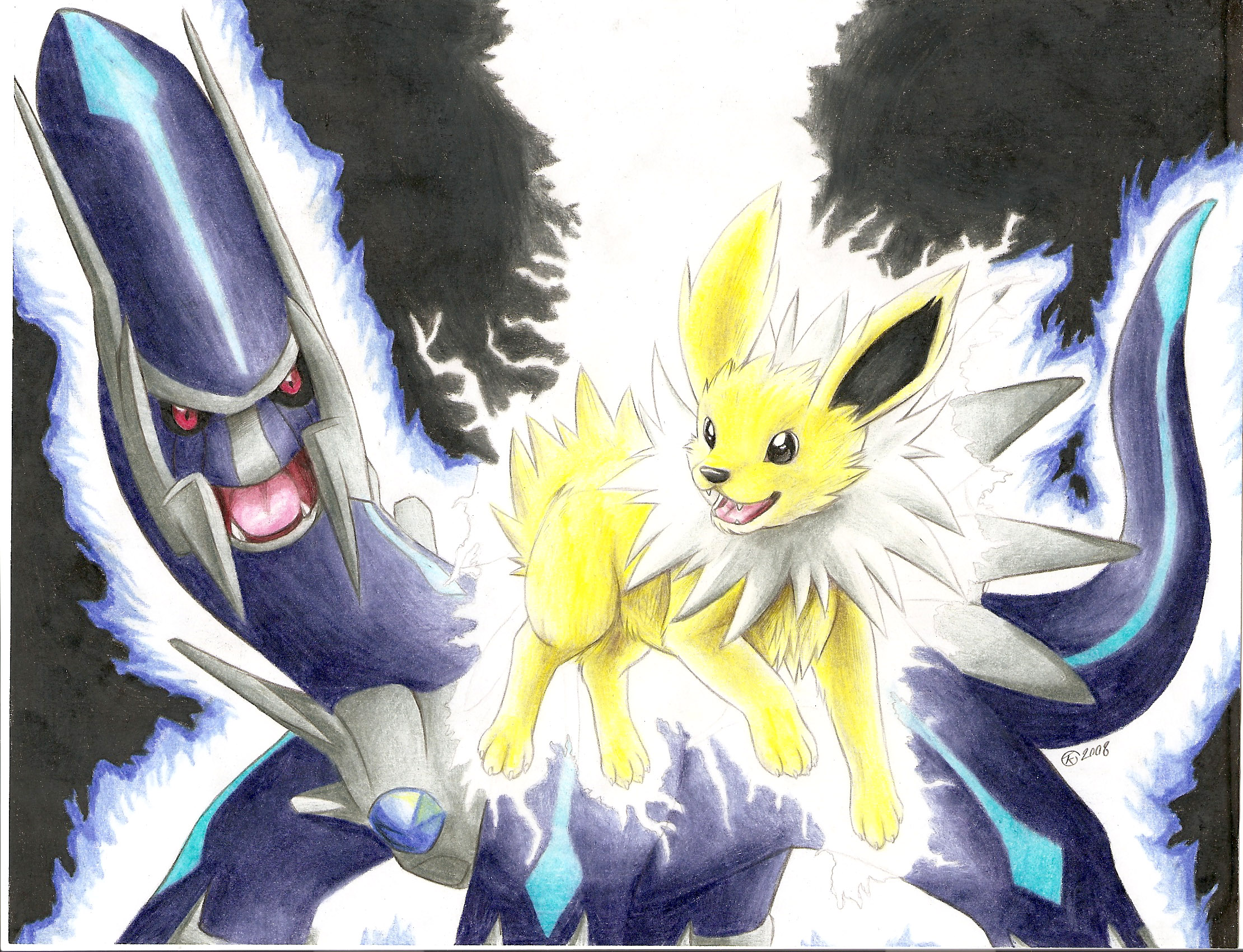 Jolteon and Dialga by Lawlzy