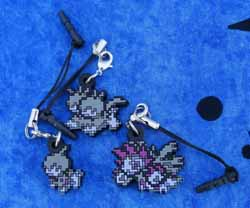 Pokemon Deino, Zweilous, and Hydreigon Dot Sprite Charms