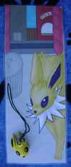 Jolteon Custom Laminated Bookmark with Charm