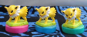 Jolteon Chibi Figure Stamps (3) - Pink, Green and Blue
