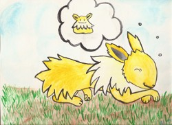 Jolteon Sleeping Watercolor Painting