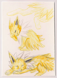 Jolteon Trio ACEO by Sorjei