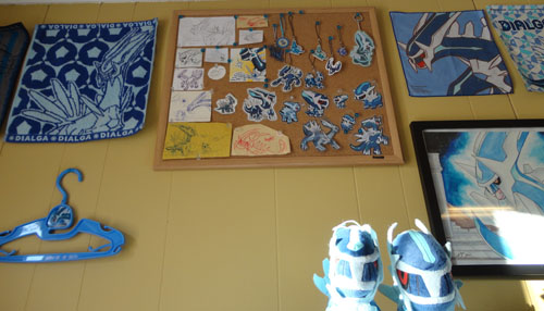 Pokemon Toys of Dialga on cork board