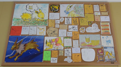 Jolteon Pokemon Art on Cork Board
