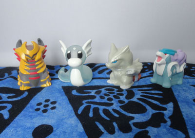 Pokemon Clear and Special Edition Kids Figures - Giratina, Dratini, Reshiram, and Suicune