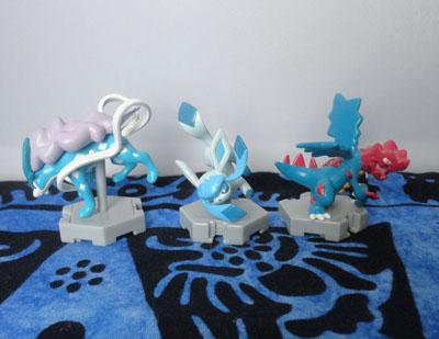 Pokemon Moncolle Plus Figures Suicune, Glaceon, and Druddigon
