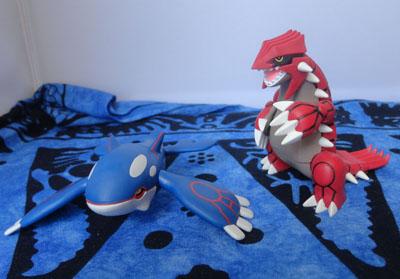 Pokemon Groudon and Kyogre Hyper Size Tomy Figures