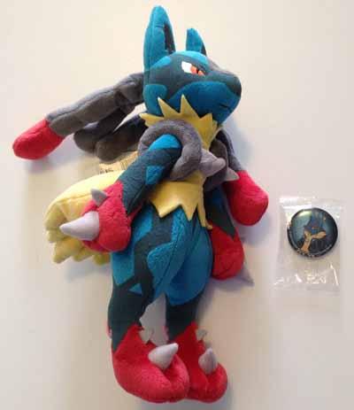 Pokemon Mega Lucario Plush and Can Badge