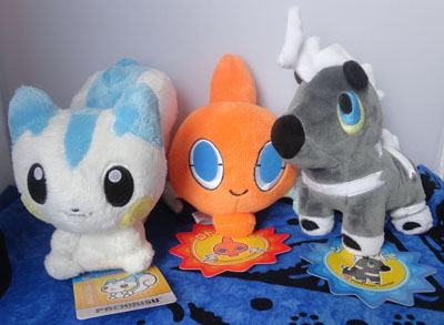 Pokemon Pachirisu, Rotom, and Blitzle Pokedolls