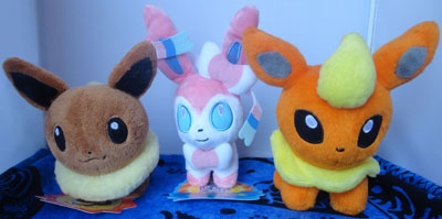 Pokemon Eevee, Sylveon, and Flareon Pokedolls