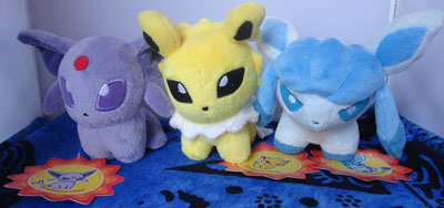 Pokemon Espeon, Jolteon, and Glaceon Pokedolls