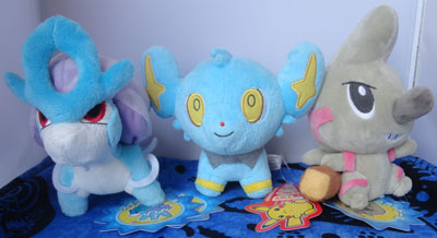 Pokemon Suicune, Shinx, and Timburr Pokedolls