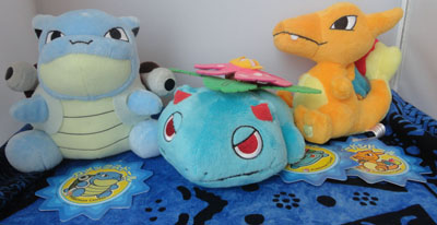 Pokemon Blastoise, Venusaur, and Charizard Pokedolls