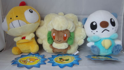 Pokemon Scraggy, Whimsicott, and Oshawott Pokedolls