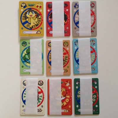 Pokemon 9 Pokemon Carddass XY Plastic Vending Cards and Stickers