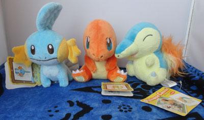 Pokemon Mudkip, Charmander, and Cyndaquil Canvas Plush
