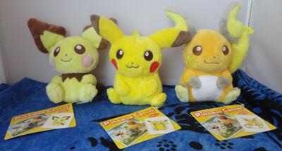 Pokemon Pichu, Pikachu, Raichu Canvas Plush