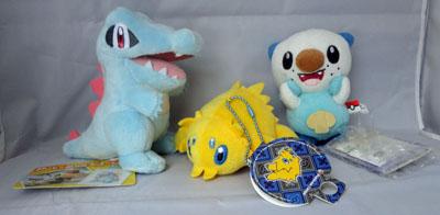 Pokemon Totodile, Joltik, and Oshawott small plush
