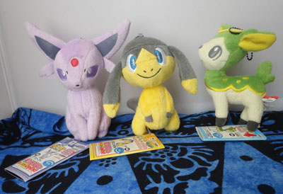 Pokemon Espeon, Helioptile, and Deerling MPC Plush