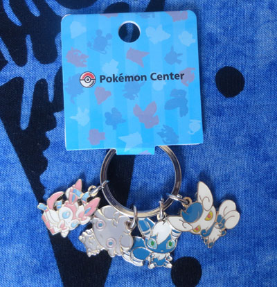 Pokemon Sylveon, Espurr, and Meowstic Pokedoll Charm Keychain