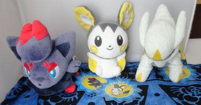 Pokemon Zorua, Emolga, and Arceus Pokedolls